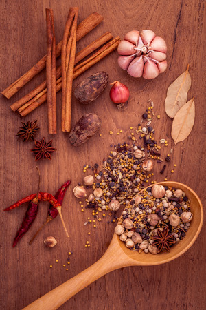teak wood: Assorted of spices  in wooden spoon  black pepper ,white pepper, black mustard,yellow mustard,fenugreek,cumin ,garlic ,paprika and  fennel seeds on teak wood background.