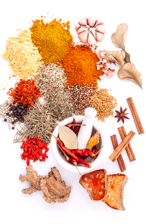 matrimony: Assorted of spices black pepper ,white pepper,fenugreek,cumin ,bay leaf,cinnamon,thyme,matrimony vine(chinese wolfberry),safflower,rosemary and fennel seeds with white mortar isolated on white background.
