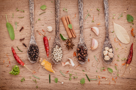 teak wood: Assorted of spices  in wooden spoon  black pepper ,white pepper, black mustard,yellow mustard,fenugreek,cumin ,curry powder ,paprika and  fennel seeds on teak wood background.