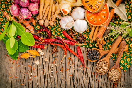 Assortment of  Thai food Cooking ingredients spice taste ,healthy and delicious foods.