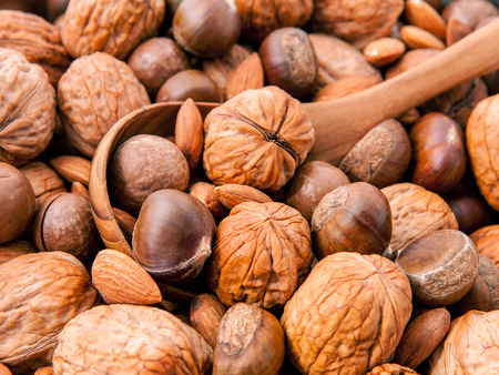 pine kernels: Wooden spoon on different kinds of nuts in shells