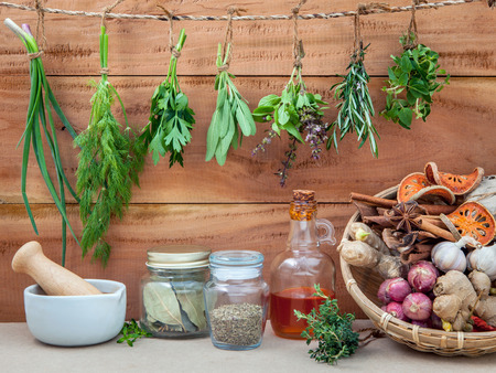 Assorted hanging herbs