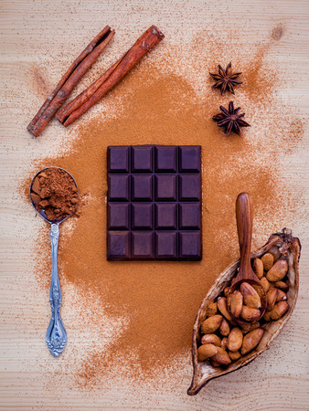 chocolate powder: Brown chocolate powder in spoon , Roasted cocoa beans in the dry cocoa pod fruit and dark chocolate setup on wooden background.