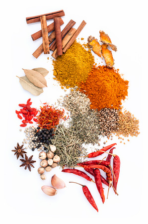matrimony: Assorted of spices black pepper ,white pepper,fenugreek,cumin ,bay leaf ,cinnamon,thyme,matrimony vine(chinese wolfberry),safflower,rosemary and fennel seeds isolated on white background.