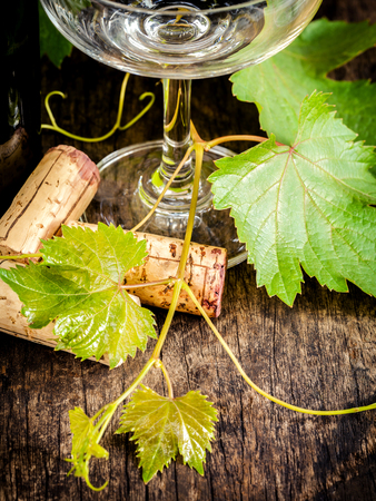 Close up wine cork with grape vine and wine glass on rustic wooden table. Shallow depth of field . Dinning and Wining concept . Stock Photo