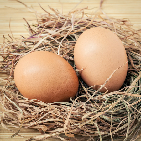 Closeup brown chicken eggs in a straw nest . Fresh organic eggs high mineral and nutrition fact.