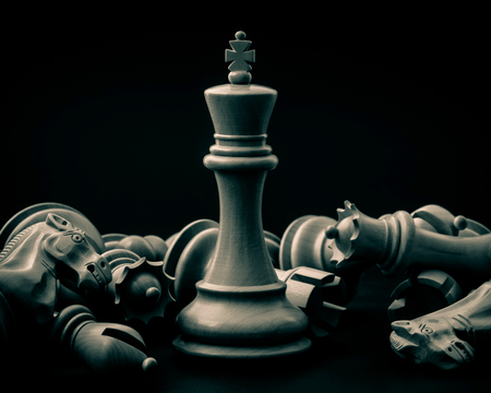 battle plan: Standing King of chess concept, Selective focus shallow depth field.