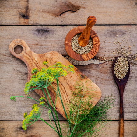 foeniculum vulgare: Close up blossoming branch of fennel and dried fennel seeds on rustic wooden background with flat lay. Stock Photo