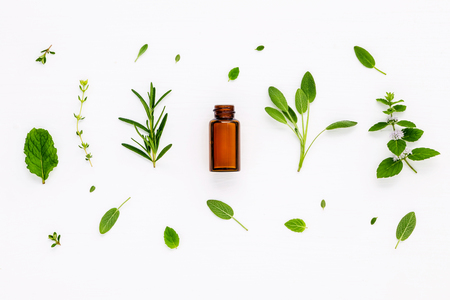Bottle of essential oil with fresh herbal sage, rosemary, lemon thyme ,thyme ,green mint and peppermint setup with flat lay on white wooden table. Stock Photo