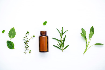 Bottle of essential oil with fresh herbal sage, rosemary, lemon thyme ,thyme ,green mint and peppermint setup with flat lay on white wooden table. Archivio Fotografico