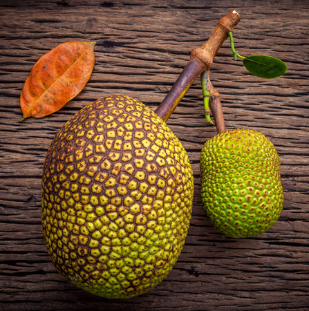 growers: Sweet Jack fruit on shabby wooden background .Tropical fruit  sweet and aromatic flesh of a ripe jack fruit (Artocarpus heterophyllus) tempts buyers at a tropical fruit stall in Koh Samui ,Thailand. Stock Photo