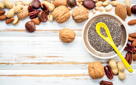 Selection food sources of omega 3 and unsaturated fats. Superfood high vitamin e and dietary fiber for healthy food. Mixed nuts almond ,pecan,hazelnuts,walnuts and various beans on white background.