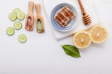 Top view ingredients cucumber ,honey ,lemon and himalayan salt on table Stock Photo