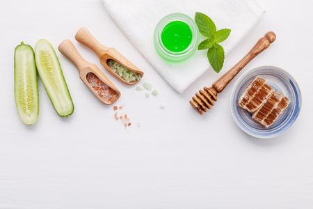Top view ingredients cucumber and aloe vera gel on table
