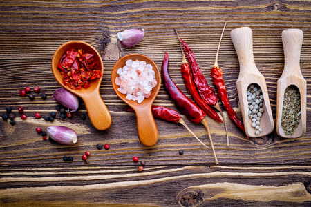Various herbs and spices in wooden spoons on wooden background. 写真素材 - 108911630