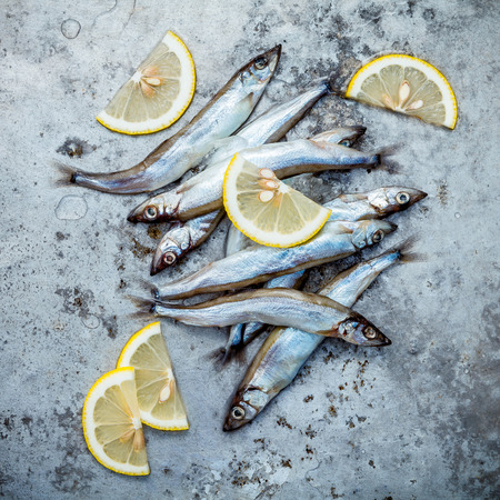 Fresh catch Shishamo fish fully eggs Stock Photo