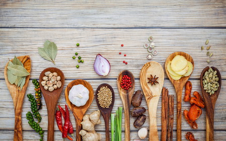 Various of spices and herbs in wooden spoons. 写真素材 - 115301390