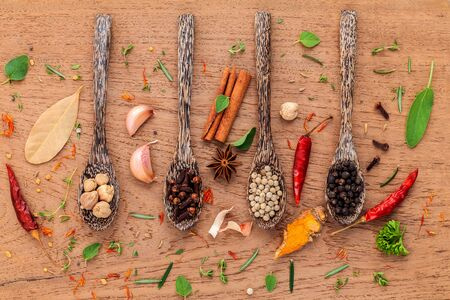 Assorted of spices  in wooden spoon