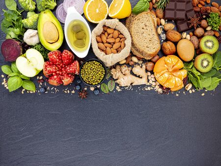 Ingredients for the healthy foods selection.
