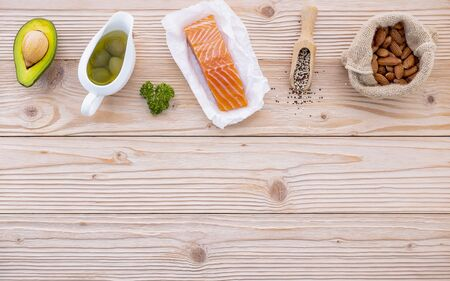 Ketogenic low carbs diet concept. Ingredients for the healthy foods selection on white background. Balanced healthy foods ingredients of unsaturated fats and fiber for the heart and blood vessels.