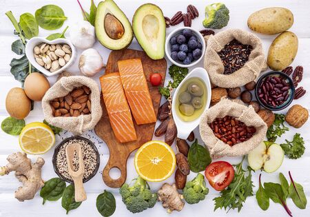 Ingredients for the healthy foods selection on white