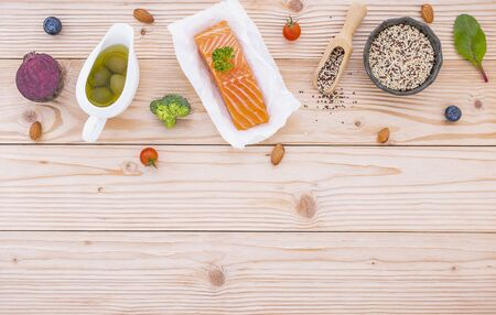 Ketogenic low carbs diet concept. Ingredients for the healthy foods selection on white