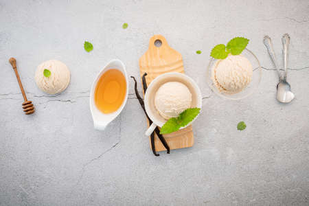 Vanilla ice cream flavor in bowl with vanilla pods setup on concrete background . Summer and Sweet menu concept. Standard-Bild