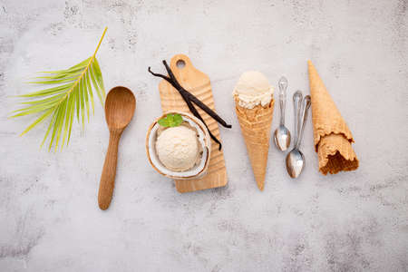 Coconut ice cream flavours in half of coconut setup on white stone background. Summer and Sweet menu concept.
