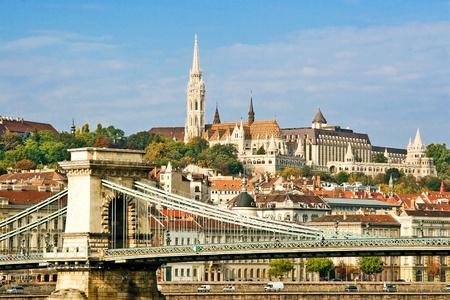 Hungarian landmark, Budapest Chain Bridge.