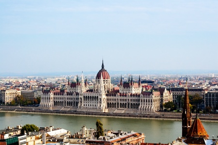 panoramic view of Budapest including river Danube and roofs Editorial