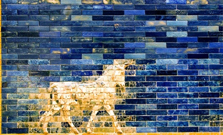 ishtar gate of babylon: Detail of a Babylonian city wall in Pergamon museum ,Berlin