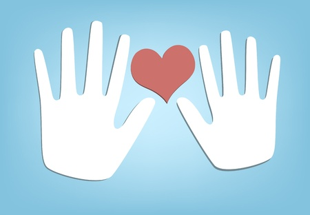 Twee handen en hart. Stock Illustratie