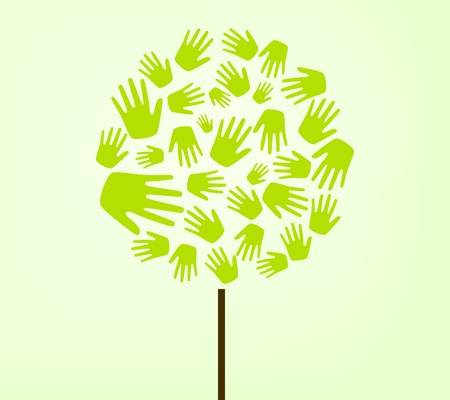 forestation: hands tree