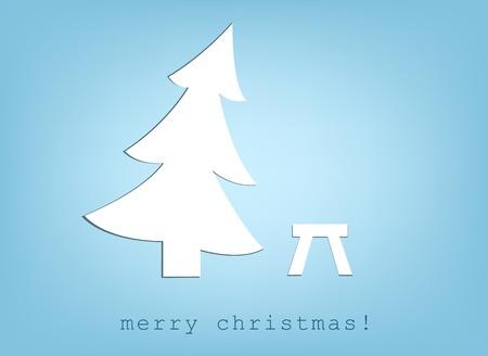 christmas tree and stool.  Vector