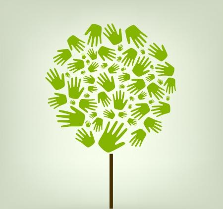zusammenarbeit: H�nde Baum Illustration