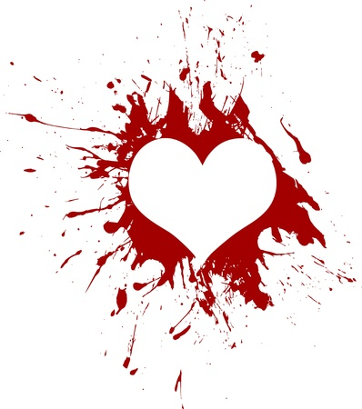 blood stain: Red grunge heart