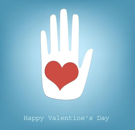 幸せなバレンタインの心を与える手します。