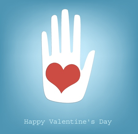 hand giving heart, happy Valentine Vector
