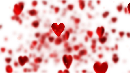 red hearts flying on black background Stock Photo