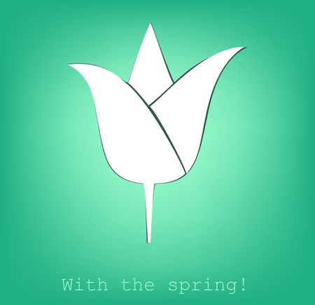 tulip cut from paper, with the spring!, vector.