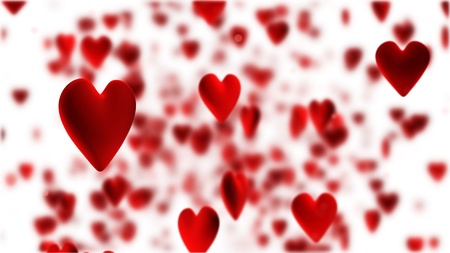 red hearts flying on white background Stock Photo