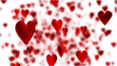 rode harten vliegen op witte achtergrond Stockfoto