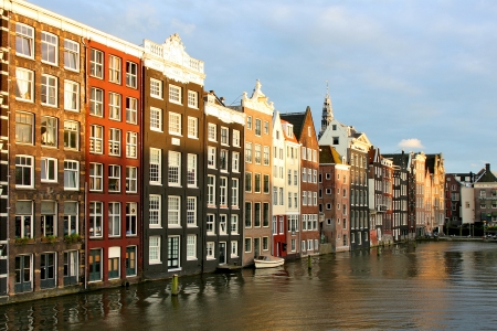 Houses in Amsterdam in the evening