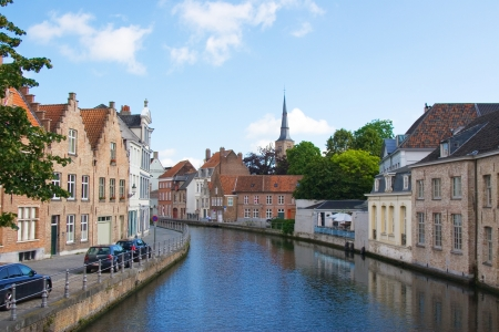 flemish houses and canal in Brugge, Belgium