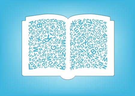 open book with letters mix Vector