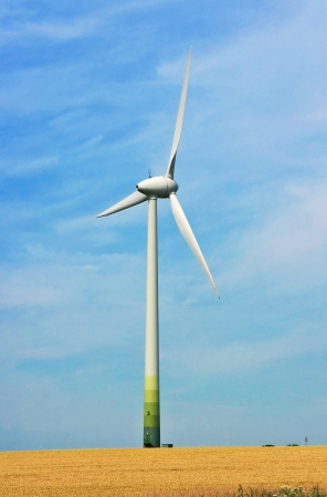 wheat field and wind turbine generating electricity photo