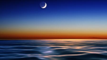 海の上の夜空