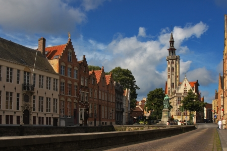 serenety: Facade of flemish houses and canal in Brugge Stock Photo