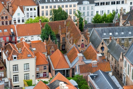 Roofs of Flemish Houses in Brugge, Belgium Stock Photo