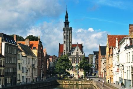 serenety: Jan van Eyckplein  old town of Bruges in Belgium